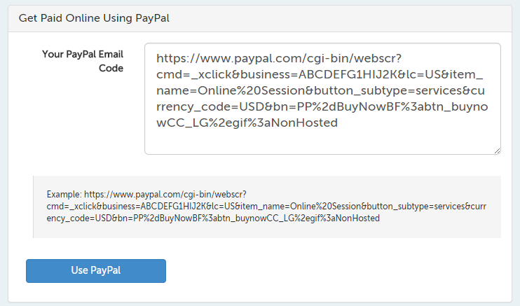 PayPal Email code field