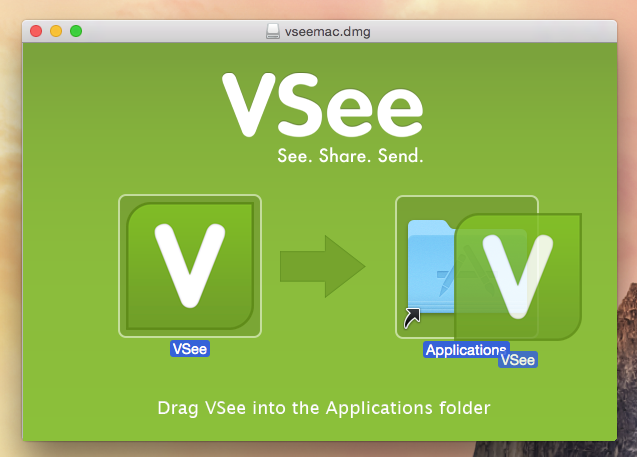 VSee installation window, icon being dragged to the Application folder