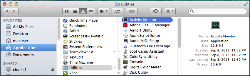 Screencap showing the filepath to the Activity Monitor on a Mac