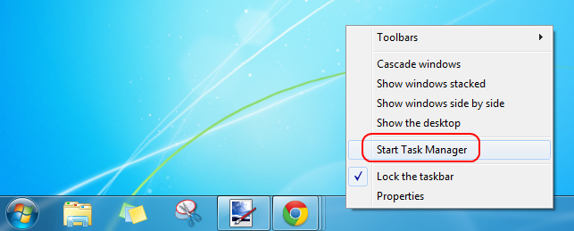 Right-click on the taskbar to start your Task Manager