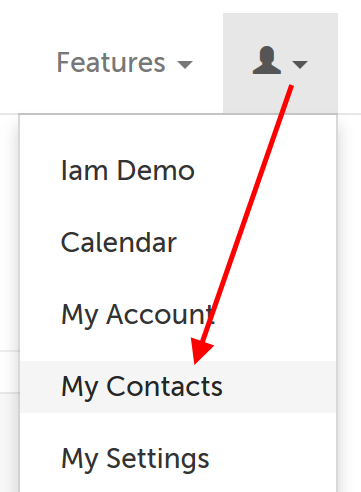 My Contacts is fourth in the drop-down menu