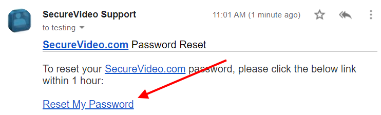 "Reset password email example, with an arrow pointing to the ""Reset My Password"" link."