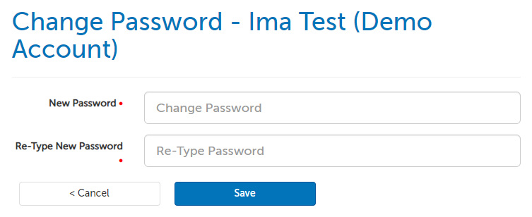 Change password page; two fields to enter the password twice.