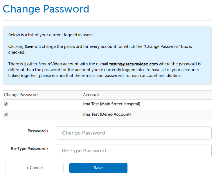 Change password page, listing connected and non connected accounts