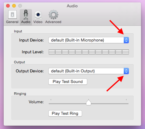Screencap showing the Audio settings menu