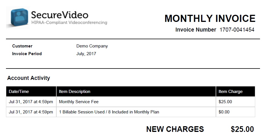 Example of a PDF invoice