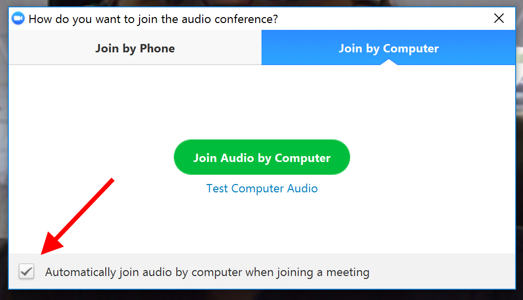 Join audio by computer