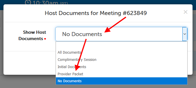 """Show Host Documents"" field, arrow pointing at ""No Documents"" (current selection) and then ""Provider Packet"" (new selection)"